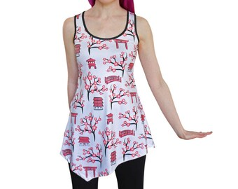Magical Kyoto Tunic Top - Japanese Clothing - Size 6 - 20 - Japan Gifts - Cherry Blossom / Sakura / Ladies Clothing - Floral Dress