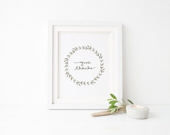 "Give Thanks Print - Watercolor Wreath - Thanksgiving - 5 x 7"" or 8 x 10"" Fall Print - Hand Lettered - Minimalist - Simplistic"