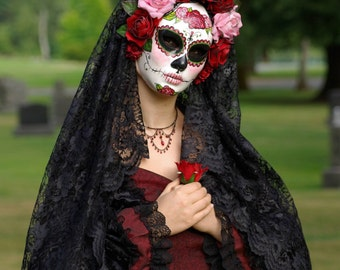 La Rosa Catrina Mask, Day of the Dead full faced paper mache mask wtih attached headdress