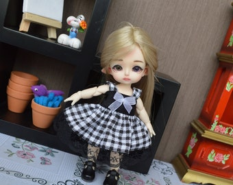Outfit Pico black gingham [1/8 = Tiny BJD.