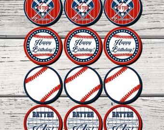 Baseball Party Cupcake toppers, Baseball Birthday Party, Baseball Baby Shower, Baseball Party decorations, Baseball Bat, Baseball,