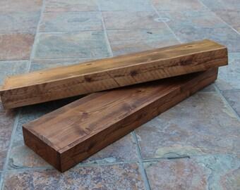 Free Shipping ANY Dimension Rustic floating shelf, Cedar wood, Special Walnut Finish