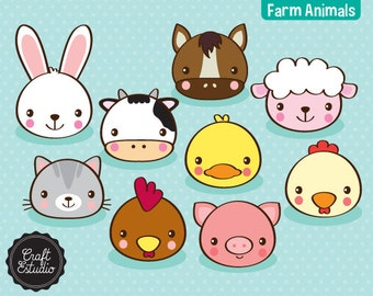 Farm Animals, Faces, Animales, Granja, Digital Kit, Clipart, Cow, Rabbit, Pig, Horse, Sheep, Cat, Rooster, Duck, High Resolution, Vaca