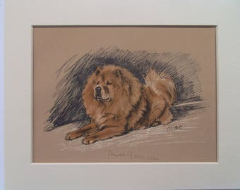 "Chow dog print by Lucy Dawson dated 1935 in 10""x8"" mount ready to frame"