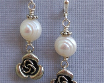 Beautiful Genuine Pearl Dangle Earrings With Hill Tribe Silver Beaded Roses Casual Elegant Earrings