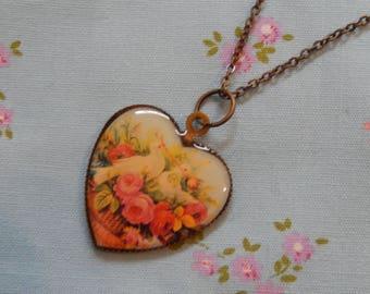 Two Little Love Doves Heart Pendant Necklace