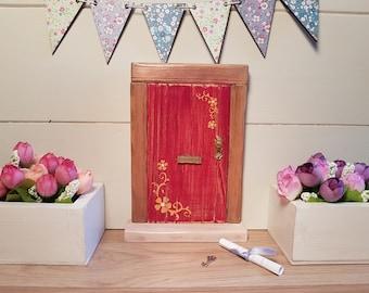 Outside/Indoor garden Fairy Door Elf Door Red Rustic Shabby Chic Freestanding Handmade