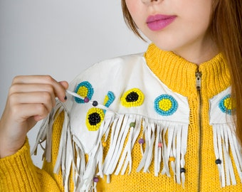 Vintage Canary Yellow SALLY B for GEORGE Gee Cable Knit Zip Up Turtleneck Sweater with White Leather Fringe and Beads (sz 4 6)
