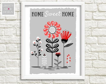 Home Sweet Home Print, Decor Wall, Art Print, floral Print Wall Decor Minimalist Digital Print Modern Art