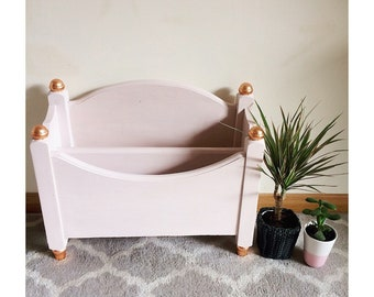 Pale blush painted paper rack/magazine rack / storage/ wooden tray/ rose gold