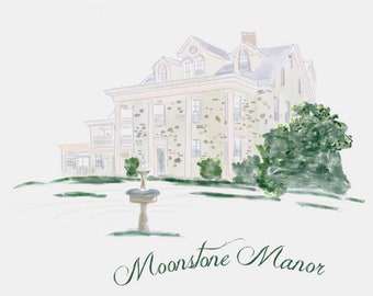 Watercolor Wedding Venue, Venue Sketch, Painted Wedding Venue, Venue Drawing, Venue Wedding Invitation