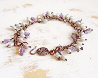 Amethyst Bracelet, Pearl Charm Bracelet, Copper Jewellery, Bead Charm Bracelet, Lavender Jewellery, Purple Bracelet, Hand Crafted Jewelry