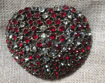 Heart Brooch with Red and white rhinestones