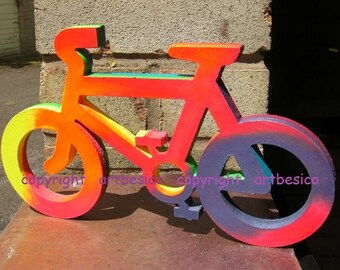 Wooden Bicycle in rainbow colours - 25.5 cm x 15 cm