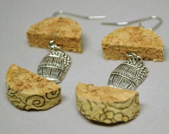 Upcycled Wine Cork Earrings with Wine Barrel Charm