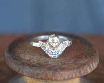 Solid Silver Antique Winged Cherub Ring