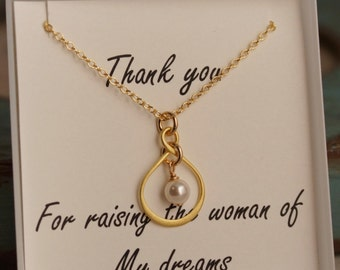 Mother of the Bride Necklace - Gold Plated Infinity Necklace with pearl
