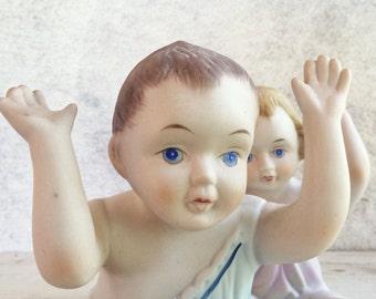 Large Porcelain Piano Baby Figurines, Kewpie Dolls, Piano Teacher Gift, Nursery Room Decor