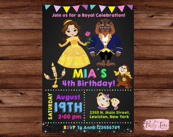 Beauty and the Beast Invitation - Belle Invitation - Princess Belle Invitation - Princess invitation. DIGITAL FILE