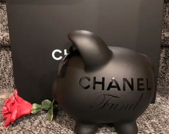 Large 'So Black' Piggy Bank Made with Authentic Ribbon!