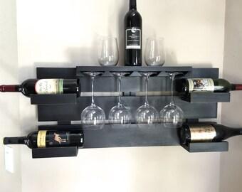 rustic wine rack, farmhouse decor,  black wine rack, reclaimed wood, wine display, glass holder, bottle holder, hanging wine rack
