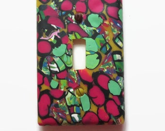 Light Switch Cover, Toggle Switch Plate, Single Switchplate, Cranberry and Green