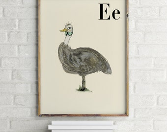 Emu print, nursery animal print, alphabet cards animals, alphabet letters, abc letters, alphabet print, animals prints for nursery