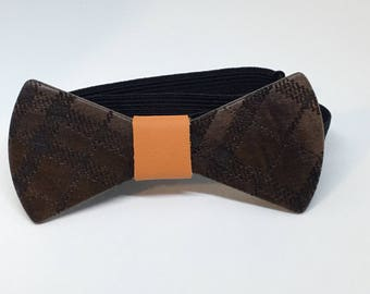 Walnut Bowtie with Plaid design - wooden bowtie -wood bowtie- wedding - wedding accessories -groomsmen gift -gifts for him - 5th Anniversary