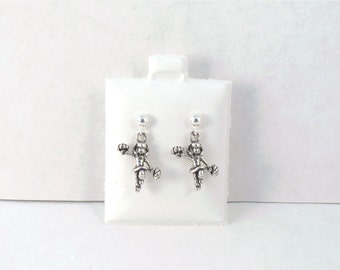 Sterling Silver Cheerleader w/ Poms Charms on Sterling Silver Ball Post Stud Earrings -2628