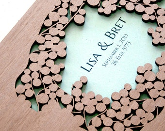 Wood wedding Guest Book Album - Mahogany wood branches Modern abstract guestbook album Lasercut wood covers - custom names front cover print