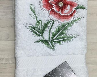 Embroidered Poppy Floral Flower Bathroom Hand Towel Mothers day Birthday Gift