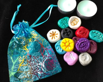 Witches Clay Runes, 13 Witches Runes, Pagan Divination, Divination, Instructions/Meanings Card, Pagan, Wiccan, Spiritual Guidance, Pouch