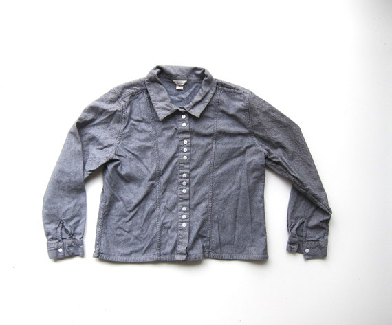 Minimal 90s Button Up Shirt Cropped Grey Cotton Oxford Blouse Modern Long Sleeve Collared Top Boxy Fit Vintage Womens Large
