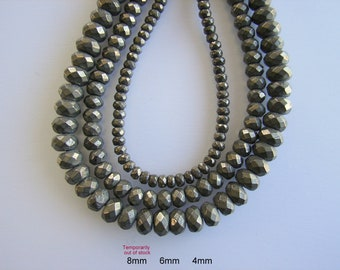 "Faceted Abacus Natural Pyrite Beads Strands 4mm, 6mm, They have RUSTIC look,  Strand 14.5""- 15.7"""