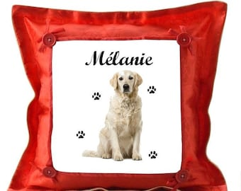 Red Golden reetweller pillow personalized with name