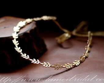 Gold leaf wedding Headband,Floral Bridal Circlet Small leaves Wedding Crown , Thin bridal Headpiece , gold head Wreath,leaf hair Accessory
