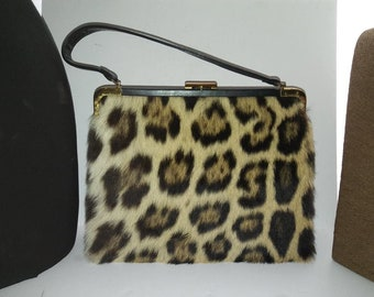 Attractive High End 1960's Vintage Leopard Faux Fur Handbag  * Retro Rockabilly Mid Century Purse * Old Hollywood Regency Glamour