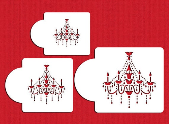 Chandelier stencil set for cookies cakes designer stencils c474 chandelier stencil set for cookies cakes designer stencils c474 face painting from lilybearlane on etsy studio aloadofball Image collections