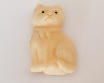 Carved Bone Cat Bead Pendant Drilled Through
