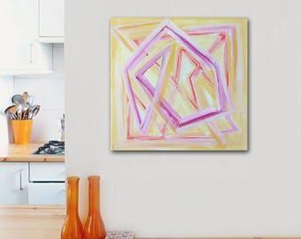 "SALE - abstract painting - modern boho decor - 12""x12"" acrylic on canvas - contemporary fine art - minimal - geometric - pink yellow"