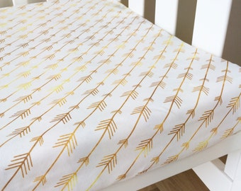 Modern Fitted Crib Sheet.  Baby cot Sheet, Nursery baby bedding. Gold arrows.