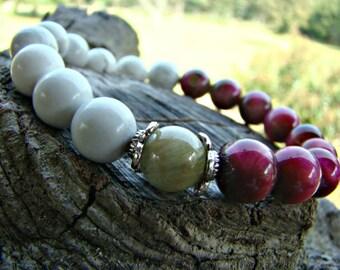 Gemstone Beaded Stretch Bracelet, White Howlite Bracelet, Red Tigers Eye Bracelet, Beaded Bracelet, Stacking Bracelet, Bohemian Bracelet