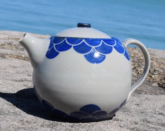 Blue Scalloped Teapot