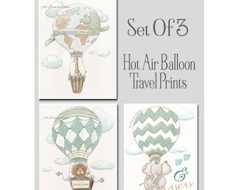 Hot Air Balloon Personalized Travel Themed Nursery, Set Of 3, Giraffe, Lion, Elephant, Dream Big, Oh The Places, Adventure Nursery, 6 Sizes
