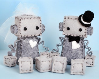Bride and/or Groom Robot Plush with Top Hat, Veil and White Heart, Plush Robots