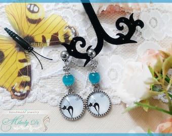 Chandelier earrings gift Cat eye jewelry Cat earrings blue Cat lover gift Cat cabochon earrings for sister gift Modern earrings Stud earring