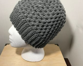 Gray beanie- winter hat- puff stitch hat- chunky hat- ready to ship
