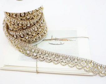 Gold Rhinestone Scallop Trim, Clear Crystal Trim, Wedding Rhinestone Trim, Rhinestone Chain, Rhinestone Applique, 25mm ( 1 Feet Qty)