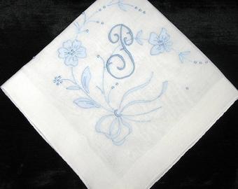 Blue Wedding Hankerchief Hanky Initial P L R B M H C D K S or J Handkerchief Bride to Be Hankies Vintage Ladies Hankie