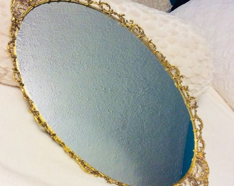 "Vintage Gold Mirror Vanity Tray Extra Large Swirl Filigree Dresser Vanity Tray 21"" Gold Plated"
